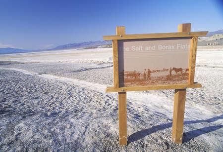 borax: Sign For The Salt and Borax Flats, Death Valley, California Editorial