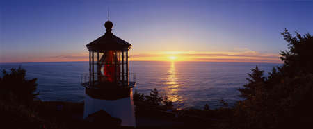 Cape Meares Lighthouse At Sunset, Cape Meares, Oregon