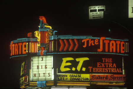 advertise with us: A neon sign for a movie theatre in Los Angeles, California