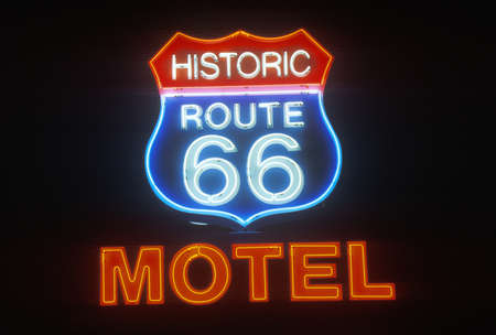 A neon sign that reads ÒHistoric Route 66 MotelÓ