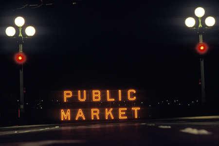 public market sign: A neon sign that reads Public Market