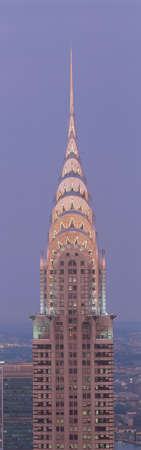 This is a close up of the Chrysler Building at sunset. It is the view from 42nd Street and 5th Avenue.
