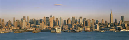 weehawken: This is the midtown Manhattan skyline and the East River at sunset from Weehawken, New Jersey. Stock Photo