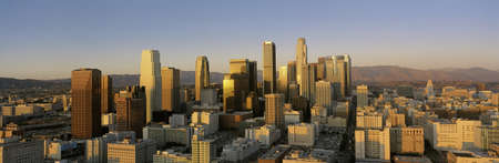 This is a view of the Los Angeles skyline at sunset. Stock Photo