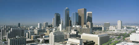 daylight: This is a view of the Los Angeles skyline in morning light. Stock Photo
