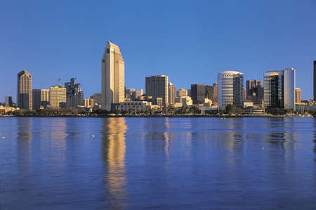 daytime: This is the San Diego Bay in morning light. It is the view from Coronado.