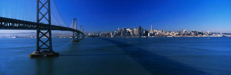 This is the Bay Bridge and skyline in morning light. It is the view from Treasure Island. photo