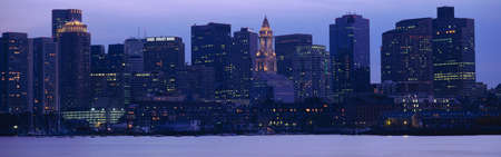 This is Boston Harbor and the skyline. It is the view from south Boston at dusk. photo