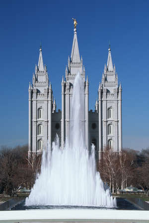 mormon temple: This is the historic Temple Square which is the home of the Mormon Tabernacle Choir. Salt Lake City is the 2002 Olympic city. Editorial