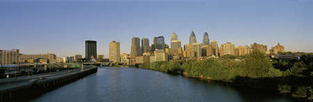This is the skyline from the Schuylkill River at sunset.