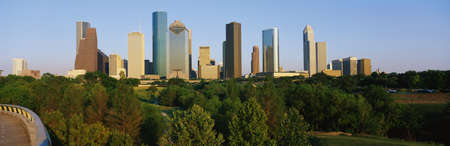 houston: This is the skyline with Memorial Park in the foreground. It is in afternoon light. Stock Photo