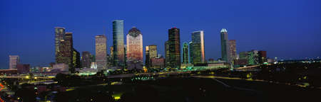 houston: This is the skyline at sunset with Memorial Park in the foreground.  Stock Photo