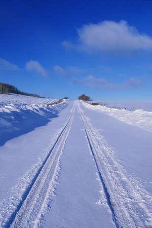 freshly fallen snow: Questo � l'ultimo dollaro strada in neve. E 'al Divide Dallas nelle montagne di San Juan. Essa mostra una strada di neve fresca caduta con auto tracce rientrati nella neve.