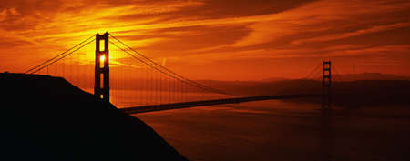 francisco: This is the Golden Gate Bridge in San Francisco at sunrise. The view is from the Marin Headlands.