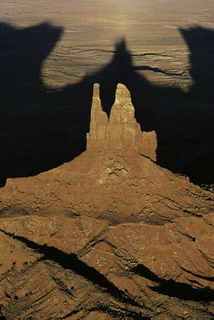 This is an aerial view of the Navajo Tribal Park at sunset. Stock fotó