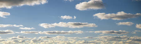 cloudburst: This is a blue sky and clouds in summer. Stock Photo