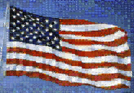 This is an image of a waving American flag attached to a flag pole. The image is a digital mosaic made up of hundreds of smaller images. It is based on their color value to make up the American flag.