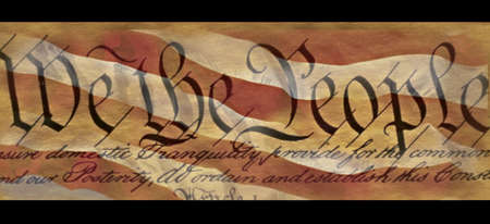 This is the preamble to the U.S. Constitution that starts with the words showing We the People. It is set against a background of the red and white stripes of the American flag. This is a digitally created image.