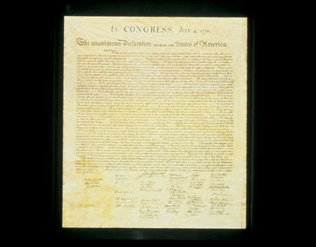 This shows the original Declaration of Independence in its entirety written on its now faded parchment paper. Editorial