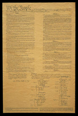 This shows the entire original U.S. Constitution on its faded parchment paper. The document begins with he phrase We The People and shows the signatures at the end of the historic document.
