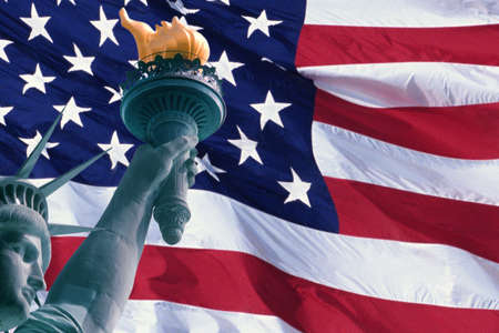 citizenship: This is a digitally created image of the American flag and Statue of Liberty. The head, arm and torch from the Statue is superimposed into the left hand side of the flag. The left hand side of the flag is ghosted back. Stock Photo