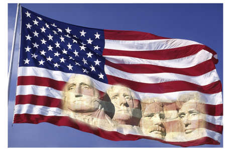 'mt rushmore': This is an American flag waving in the wind set on a flagpole against a blue sky. The four presidents of the Mt. Rushmore National Monument are digitally composited into the bottom right hand side of the flag. This is a digitally created image. Editorial