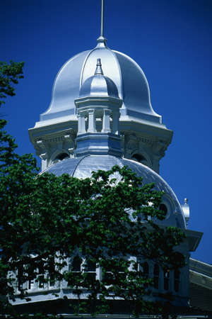 carson city: This is the historic State Capitol Building. It has two silver domes with a green-leafed tree in front of the round shaped dome. Editorial