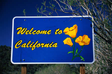 welcome sign: This is a road sign that says, Welcome to California. It has the state flower on it, the poppy. The sign is against a blue sky. Stock Photo