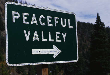This is a road signs that says Peaceful Valley. There is white arrow pointing the way beneath the lettering.