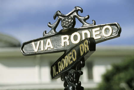 This is the street sign for Rodeo Drive and Via Rodeo Drive in Beverly Hills.