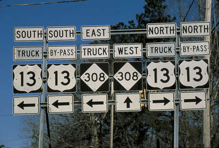 going for it: This is a set of road signs offering directions at a fork in the road. It points out the direction to travel on Interstate 13 North or South or 308 going east or west. The signs are black and white with arrows pointing in the appropriate directions for ea