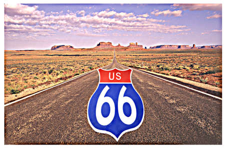 This is a digitally composed image with a US 66 road sign superimposed on the road to Monument Valley. There is a desert landscape surrounding the road.