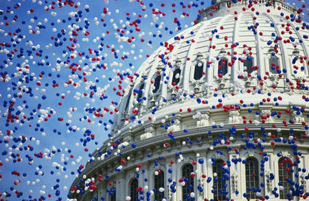winning location: This is the U.S. Capitol during the Bicentennial of the Constitution Celebration. There are red, white and blue balloons falling around the Capitol Dome. It marks the dates that commemorate the Centennial 1787-1987.