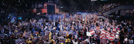 This is the 1992 Democratic National Convention at Madison Square Garden. Bill Clinton and Al Gore received the Presidential and Vice Presidential Nominations. There is festive mylar falling from the ceiling in celebration in front of the delegates from a Editorial