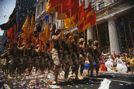 desert storm: This is a Ticker Tape Parade showing the Desert Storm Victory Parade. It took place in the Canyon of Heroes where about 4.7 million people attended.  This shows army soldiers marching in line.