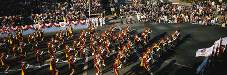 This is a marching band in the Tournament of Roses Parade on New Years Day,.