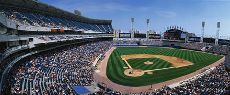 This is the new Comiskey Park Stadium. Playing are the White Sox vs the Texas Rangers. The attendance at this game was 26,141.