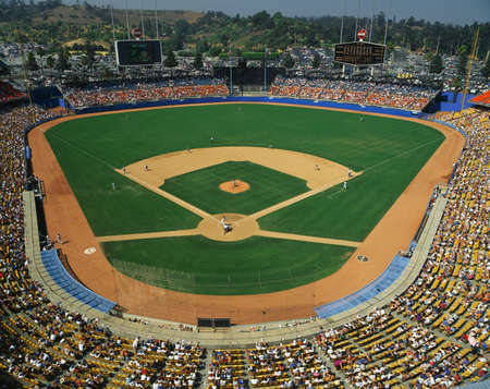 baseball crowd: This is Dodger Stadium. This game was played by the LA Dodgers and the Houston Astros. The attendance at this game was 42, 264. The Dodgers won with a score of 5 to 1.