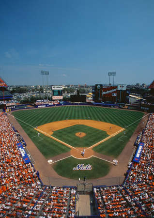 baseball stadium: This is Shea Stadium. Playing were the NY Mets vs. the San Francisco Giants. The Mets won 9 to 8 in a day game.