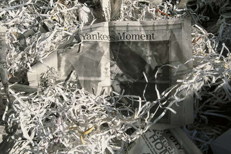 This was at a Ticker Tape Parade for the New York Yankees. They were the 1998 World Champions. It took place in the Canyon of Heroes and 3.5 million people attended. These are the newspaper headlines and confetti from the parade.