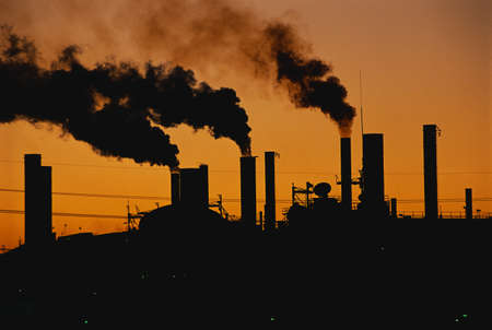 smokestacks: This is a Ford factory at sunset. These are smokestacks contributing to the pollution in the air.
