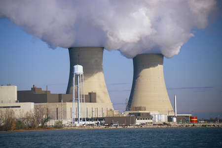 These are two nuclear power plants situated on Lake Erie. These are the Enrico Fermi power plants.