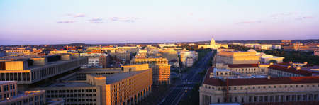 washington dc: This is an aerial view of Washington, DC showing Pennsylvania Avenue to the U.S. Capitol at sunset. The view is from the Old Post Office.