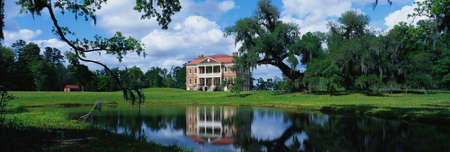 This is a southern plantation called Drayton Hall. It is a pre-Revolutionary plantation set on the Ashley River. It has Georgian Palladian architecture and was built from 1738-1742.  Stock Photo - 20474754