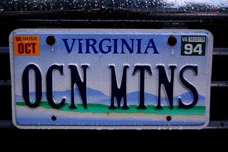 license plate: This is a vanity license plate that says ocean mountains. Editorial