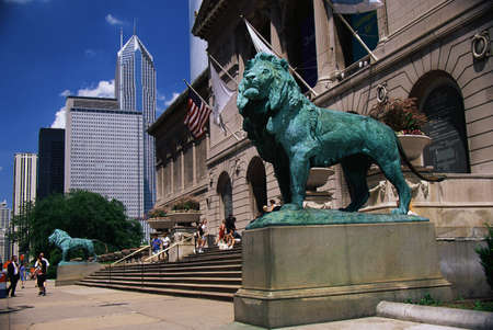 This is the exterior of the Art Institute of Chicago. The famous lion statues are guarding its entrance.