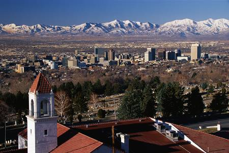 wasatch: This is the State Capitol, Great Salt Lake and snow capped Wasatch Mountains in morning light. This will be the sports competition city in the year 2002. Stock Photo