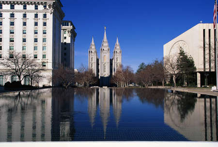 salt lake city: This is the historic Temple Square which is the home of the Mormon Tabernacle Choir. The Angel Moroni is on the very top of the temple building. Editorial