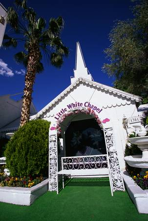 quickly: This is the Little White Wedding Chapel where people can get married quickly in Las Vegas.