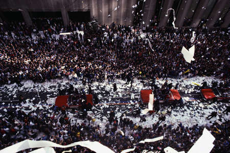 ticker: This is a Ticker Tape Parade at Broadway and Wall Street celebrating the Mets becoming the world champions. There were about 2.2 million people. It took place in the Canyon of Heroes. Editorial